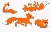 Set of 4 cute vector foxes — Stock Vector
