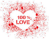 Vector sprayed heart with text — Vector de stock