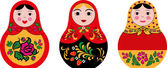 Set of 3 cute russian dolls matryoshka — Stock Vector