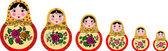 Set of 6 cute russian matryoshka dolls — Stock Vector