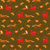 Seamless pattern with fox, squirrels, deer and floral elements — Stock Vector