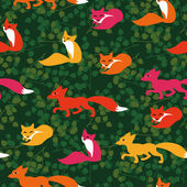 Seamless pattern with cute foxes and leaves — Stock Vector