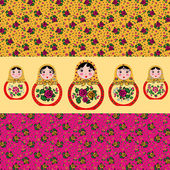Set of seamless pattern russian style and cute russian dolls — Vettoriale Stock
