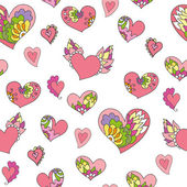 Seamless pattern of cute doodle hearts — Stock Vector