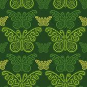 Seamless pattern green butterflys — Stock Vector