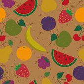 Seamless stamped summer fruits pattern — Stock Vector
