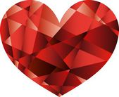 Vector diamant red heart — Stockvektor