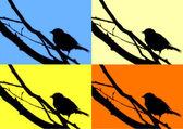 Silhouette of a bird on a branch way pop art — Stock Vector