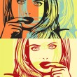 Pop art. Girl suspicious. — Stock Vector