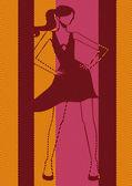 Pop art. Woman dancing — Stok Vektör