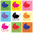 Pram, baby carriage pop art — Stock Vector