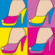 High heel shoe.Pop art — Stock Vector
