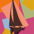 Pop art. Sailing boat. — Vector de stock #36264873