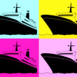 Stock Vector: Pop art. Cruise liner