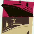 Pop art. Cruise liner — Vector de stock #36278537