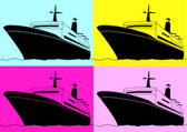 Pop art. Cruise liner — Stock Vector