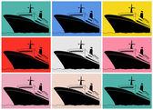 Pop art. Cruise liner — Vettoriale Stock