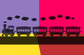 Pop art. trem a vapor — Vetor de Stock