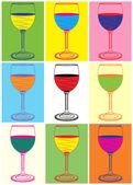 Pop art. Wine glasses — Stock Vector
