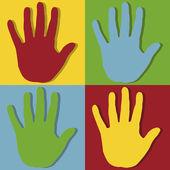Right hand pop art — Stock Vector