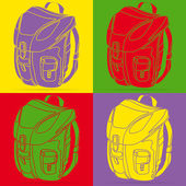 Backpack pop art — Stock Vector