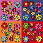 Flowers pop art — Stock Vector
