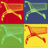 Shopping cart pop art — Stock Vector