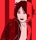 Asian woman pop art — Stock Vector