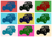 Vintage car pop art — Vector de stock