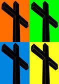 Crucifix, pop art — Stock Vector