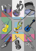Musical instruments. Pop art — Stock Photo