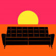 Stock Vector: Settee pop art