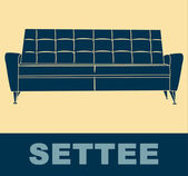Settee pop art — Stock Vector