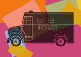 Police van, drawing pop art — Stock Vector