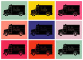 Police van, drawing pop art — Vector de stock