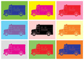 Police van, drawing pop art — Stockvektor
