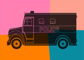 Police van, drawing pop art — Stock Vector