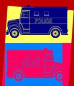 Police van, drawing pop art — Cтоковый вектор