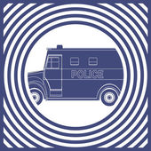 Police van, drawing pop art — ストックベクタ