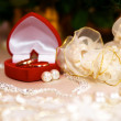 Wedding rings in red box closeup — ストック写真