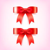 Beautiful Christmas Red Bows. Vector Illustration — Stock Vector