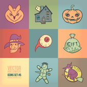 Halloween Vector Icons Set. Vintage Colors Style — Vector de stock