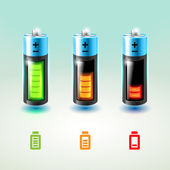 Set of vector batteries. Charge conditions. — Stock Vector