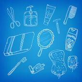 Bathroom stuff. Sketch Vector Illustration. — Wektor stockowy