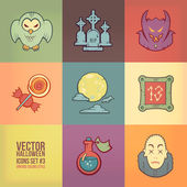 Halloween Vector Icons Set. Vintage Colors Style — Stock Vector