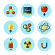 Vector physics icon set in modern flat style. — Stock Vector #50323633