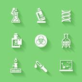 Set weiß chemie-icons. — Stockvektor