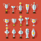 Vector icons set of bronze sport award cups. — Stock Vector