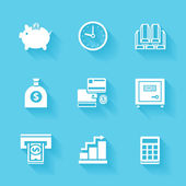 Set of white finance and money icons. — Stock Vector