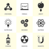 Set of black physics icons. — Stock Vector